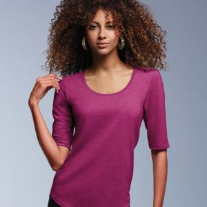 Women's Triblend Deep Scoopneck Three-Quarter Sleeve Top Thumbnail