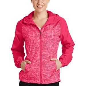 Ladies Heather Colorblock Raglan Hooded Wind Jacket Thumbnail
