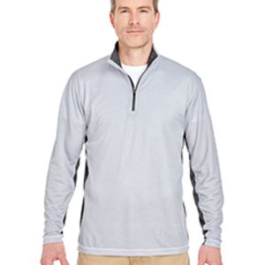 Adult Two-Tone Keyhole Mesh Quarter-Zip Pullover Thumbnail