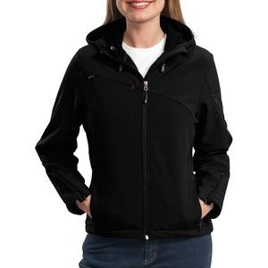 Ladies Textured Hooded Soft Shell Jacket Thumbnail