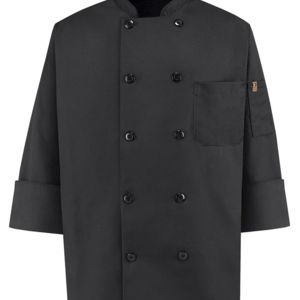 Ten Pearl Button Black Chef Coat Thumbnail
