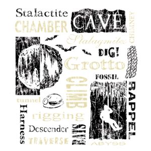 C74 Woodcut Cave Words on brown Thumbnail